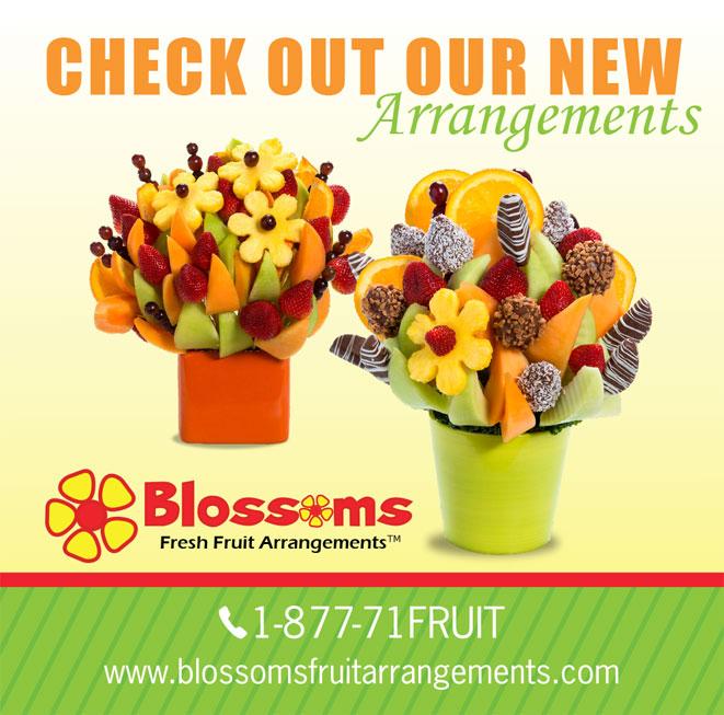 blosoms fresh fruit arrangement